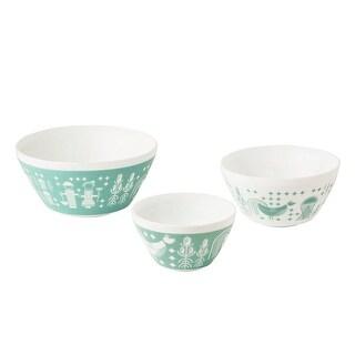 Pyrex Rise N Shine Vintage Charm 3 Piece Opal Glass Bowl Set, Teal