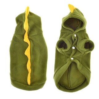 Unique Bargains S Short Sleeves Single Breasted Poodle Pet Hooded Coat Winter Clothes Army Green