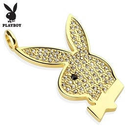 Gem Paved Playboy Bunny Gold IP 316L Surgical Steel Pendant (23 mm Width)
