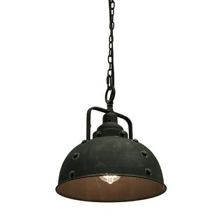Vintage Industrial Rustic Blackened Metal Farmhouse 84 inch Chain Pendant Light - 11.5 X 11 X 11 inches