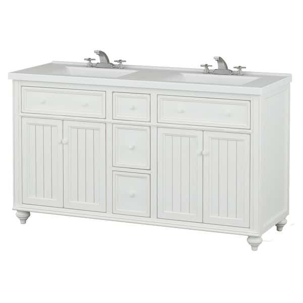 Sagehill Designs Cr6021dn Designer White Cottage Retreat 60 Bathroom Vanity Cabinet Only With 3 Drawers And 2 Cabinets Overstock 16903307