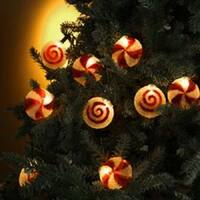 Set of 10 Peppermint Twist & Swirl Candy Christmas Lights - Green Wire - RED