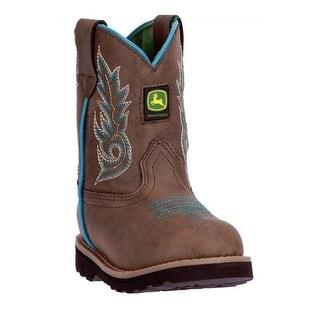 John Deere Western Boot Boy Kids Round Toe Distressed Turquoise