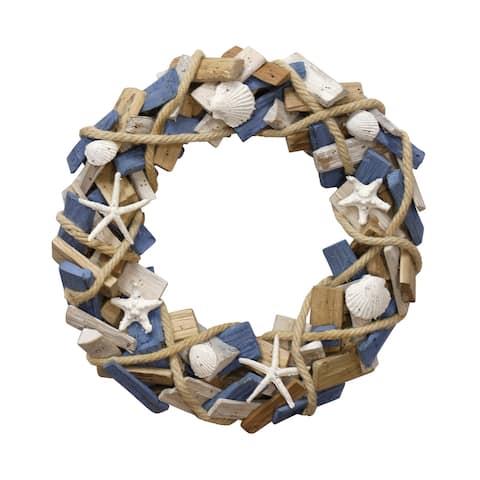Porch & Den Hand-assembled Ocean Motif Wood Wreath