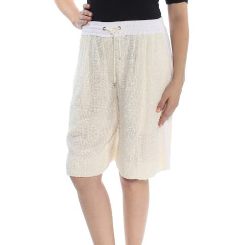 SONIA RYKIEL Womens Ivory Textured Bermuda Wear To Work Short Size: 8