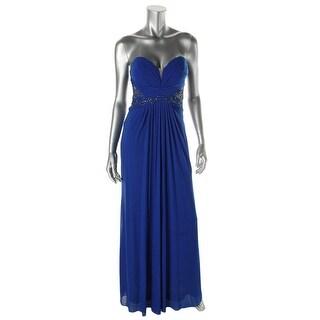 Xscape Womens Evening Dress Mesh Rhinestone