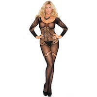 31adf8d50 Shop Plus Size Crochet Net Keyhole Bodystocking - Neon Blue - Queen ...