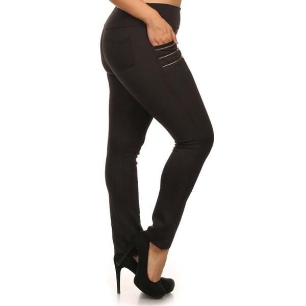 f7d565e116f Shop Zipper Embellished Plus Size Skinny Pants - On Sale - Free ...
