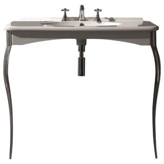 """WS Bath Collections Retro 1049 39-1/2"""" Ceramic Wall Mounted Bathroom Console with 1 or 3 Holes Drilled and Metal Legs"""