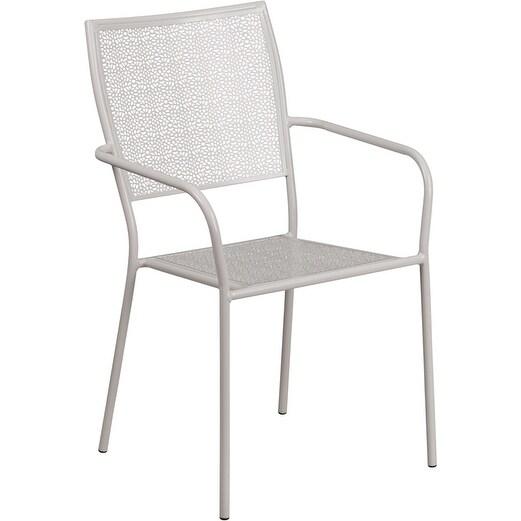 Westbury Light Gray Indoor/Outdoor/Patio/Bar Steel Patio Arm Chair w/Square Back