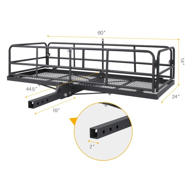 ARKSEN Foldable 60x 24x 14 Luggage Cargo Carrier Basket W//Cargo Bag Combo Trailer Hitch Carrier Fit 2 Receiver,500 lbs Capacity Black Steel