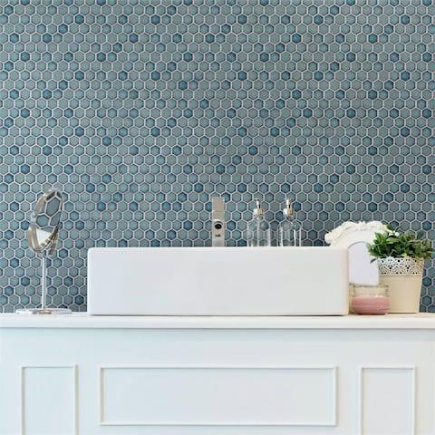 SomerTile Hudson Hex 1 in. Marine 13x11.25-inch Porcelain Mosaic Tile - CASE