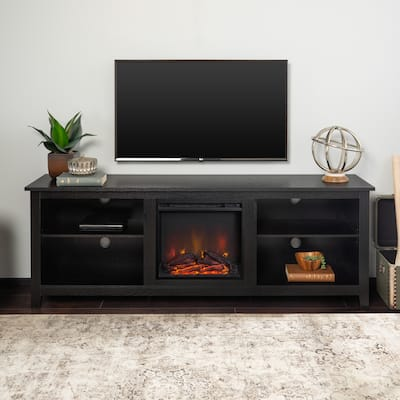 70-inch Black Fireplace TV Stand with Adjustable Shelving