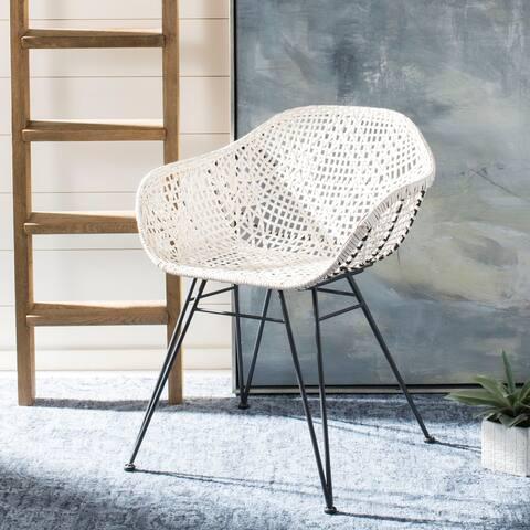 "Safavieh Jadis Leather Dining Chair-White / Dark Grey - 23.6"" x 21.7"" x 34"""
