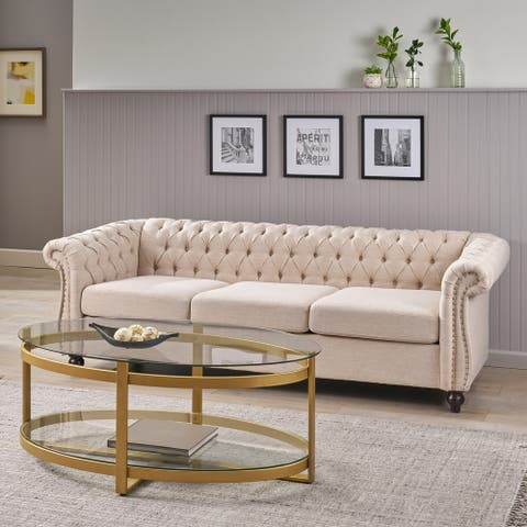 Parksley Tufted Chesterfield 3 Seater Sofa by Christopher Knight Home