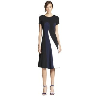 Aquilano RimondiTricotine Wave Contrast Panel Short Sleeve Cocktail Dress - 6
