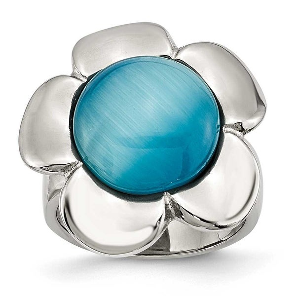 Stainless Steel Blue Agate Flower Ring (4 mm)