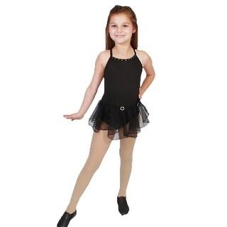 Girls Black Rhinestone Accents Drop Waist Dancewear Dress