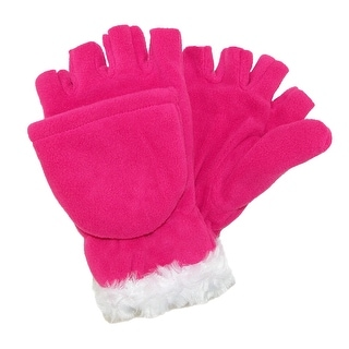 Grand Sierra Girls' 4-16 Fleece with Faux Fur Convertible Mitten to Glove - One Size