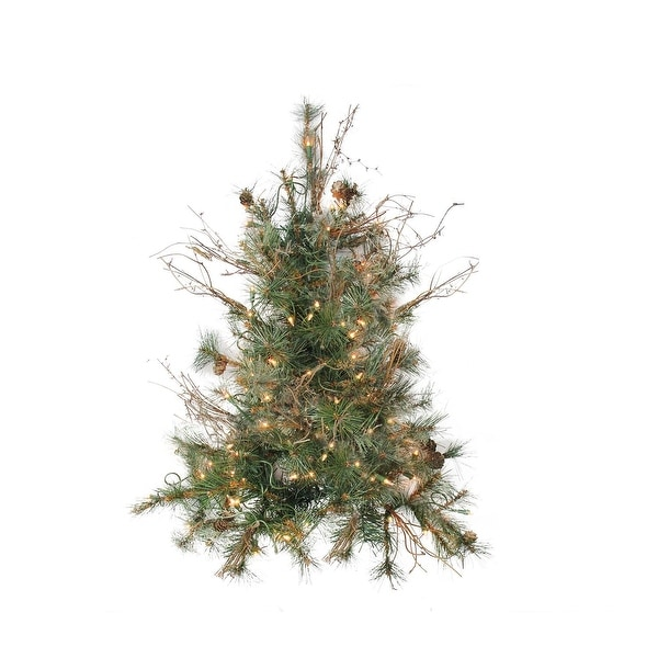 """2' x 18"""" Pre-Lit Country Mixed Pine Artificial Christmas Wall or Door Tree - Clear Lights"""