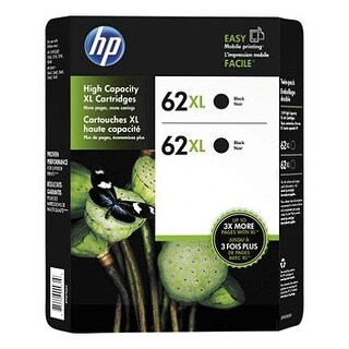 HP 62XL Black High Yield Ink Cartridge, C2P05AN 2/Pk