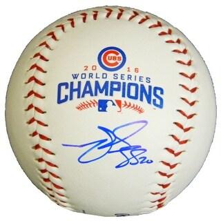 Matt Szczur Chicago Cubs 2016 World Series Champions White Logo Baseball