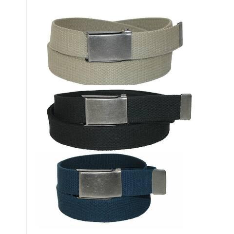CTM® Men's Big & Tall Belt with Flip Top Nickel Buckle (Pack of 3) - one size