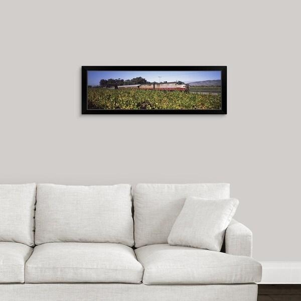"""Napa Valley Wine Train passing through vineyards, Napa Valley, California"" Black Framed Print"