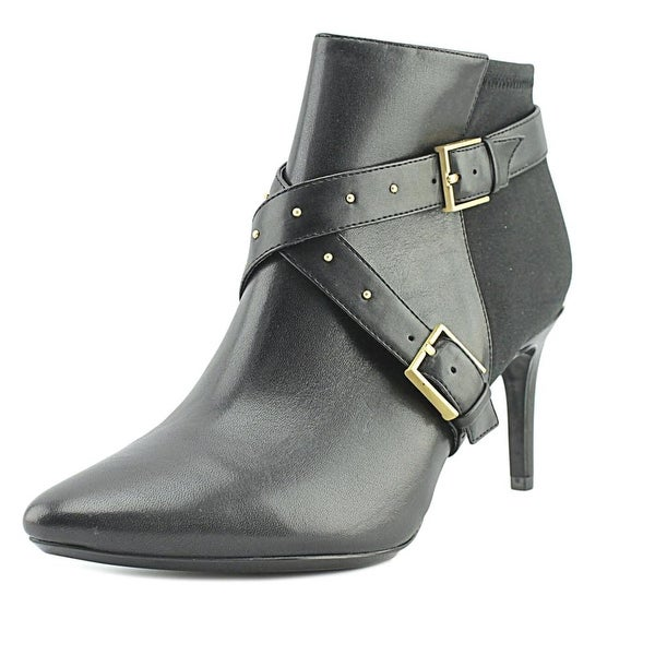 Calvin Klein Jennette Women Pointed Toe Leather Black Bootie