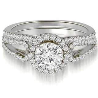 1.25 CT.TW Halo Split-Shank Round Diamond Bridal Set in 14KT White gold - White H-I