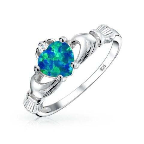 Celtic Heart Lab Created Blue Opal Claddagh Ring 925 Silver