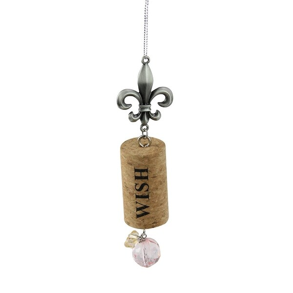 "Tuscan Winery Fleur de Lis ""Wish"" Inspirational Decorative Pink Faux Gem Accented Wine Cork Christmas Ornament 5.5"""