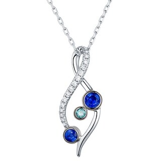 Prism Jewel 0.36Ct Blue Sapphire with Blue & White Diamond Twisted Pendant (3 options available)