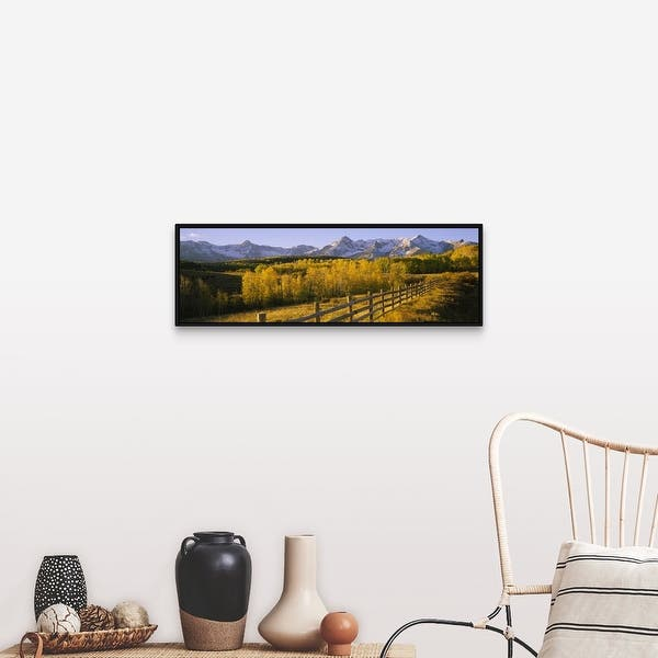 Trees In A Field Near A Wooden Fence Dallas Divide San Juan Mountains Colorado Black Float Frame Canvas Art Overstock 25499576