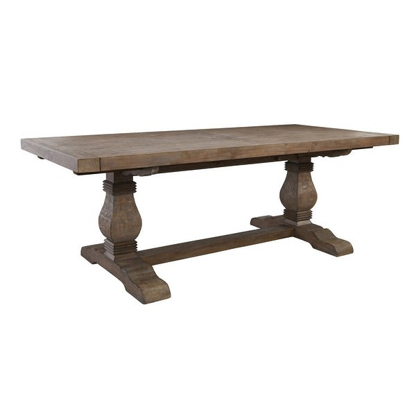 Plank Top Wooden Extendable Dining Table with Pedestal Base, Brown. Opens flyout.