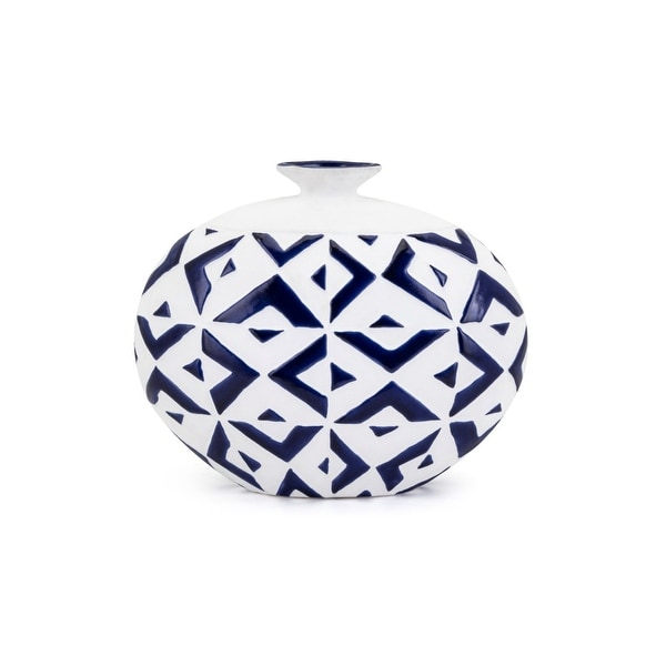 Short Neck Round Patterned Vase with Geometric Design, Small, White and Blue