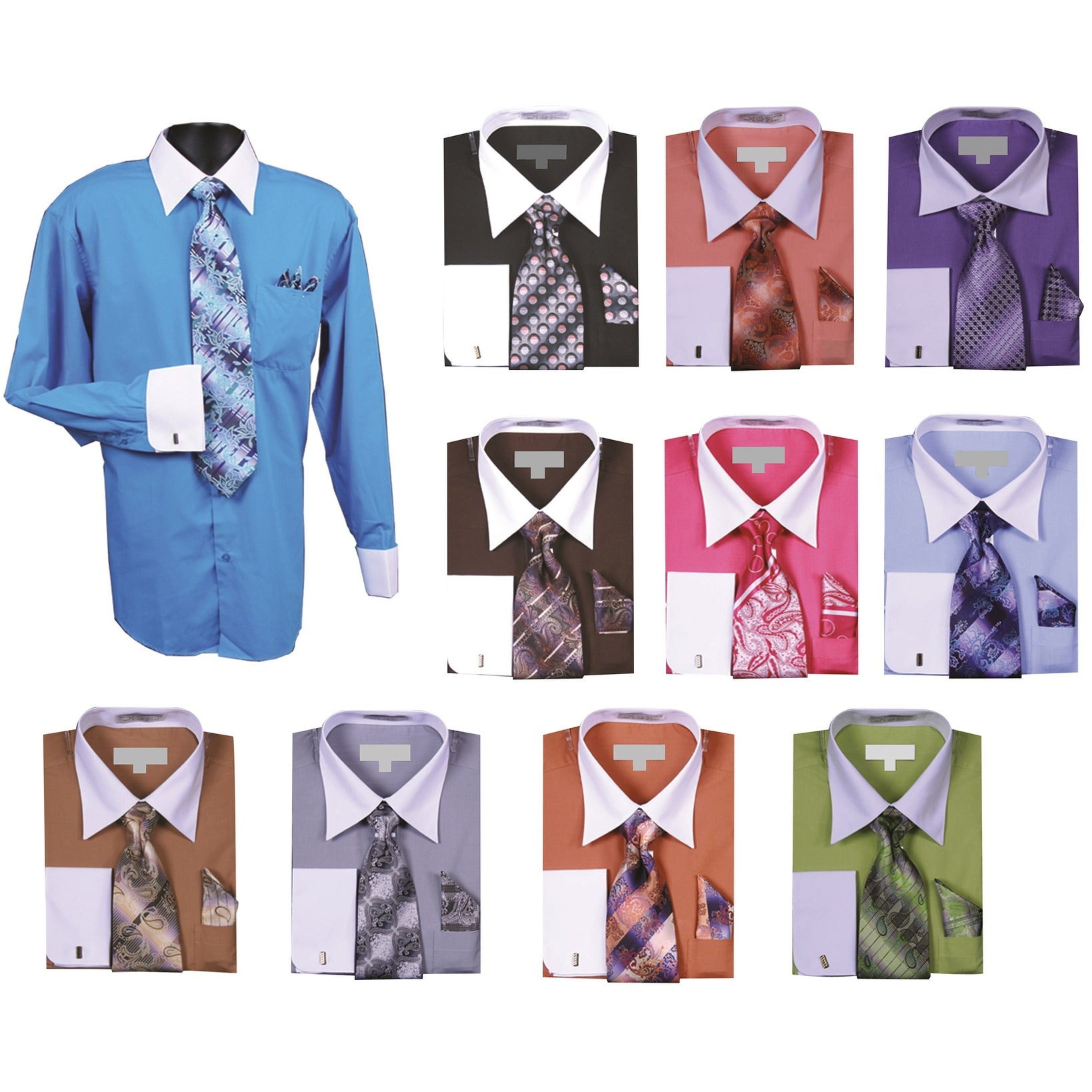 Assorted Colors and Sizes Boys French Cuff Dress Shirt With Tie /& Hanky