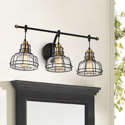 Black and Antique Gold 3-Light Vanity with Clear Glass Shades