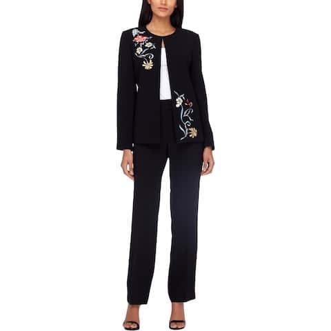 Tahari ASL Womens Petites Pant Suit 2PC Embroidered