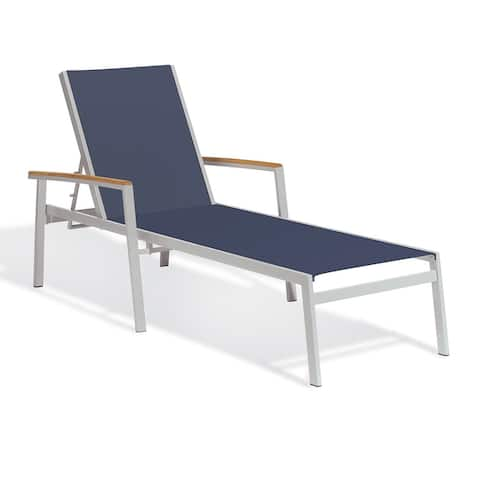 Oxford Garden Travira Chaise Lounge with Teak Armcaps (Set of 2)