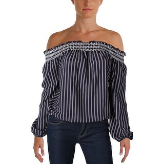 Aqua Womens Casual Top Striped Smocked