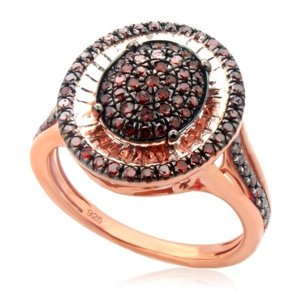 Beautiful 0.52ct Round Brilliant Cut Cognac Color Diamond Designer Ring, Size 7