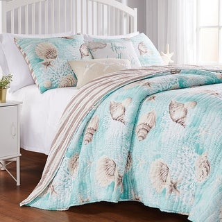 Link to Barefoot Bungalow Ocean Turquoise Reversible Coastal Quilt Set Similar Items in As Is