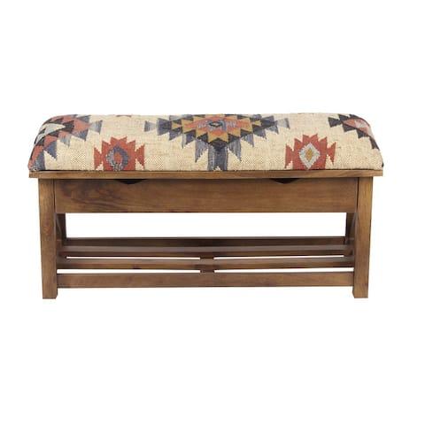 "Handmade Kilim Upholstered Storage Bench (India) - 35"" L x 14"" W x 17"" H"