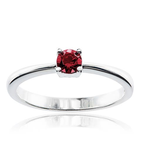 Sterling Silver Round Swarovski Austrian Crystal Birthstone Ring