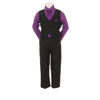Little Boys Purple Black Pants Vest Tie Shirt Special Occasion Set 1-7