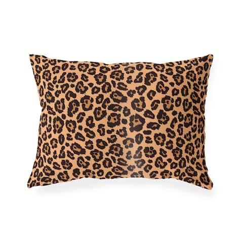 LEOPARD PRINT NATURAL Indoor Outdoor Lumbar Pillow By Kavka Designs - 20X14