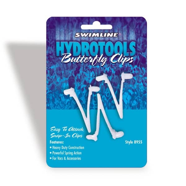 Set of 3 HydroTools Butterfly Snap-In Clips Swimming Pool Accessory - White