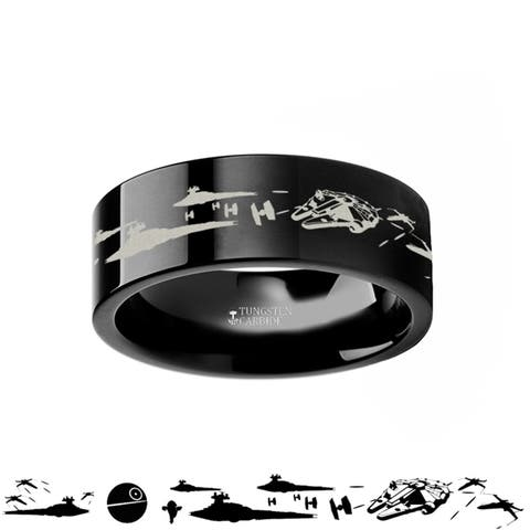 Thorsten Star Wars Tungsten Rings for Men Black Tungsten Comfort Fit A New Hope Death Star Space Battle Ring Band - 4mm