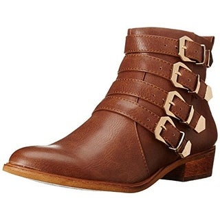 Baretraps Womens Treena Ankle Boots Faux Leather Buckle